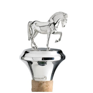 Sterling Silver Cork Stopper With Horse Figuirine For Sale