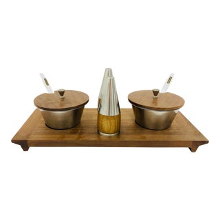 Vintage Mid-Century Modern Teak Wood & Stainless Steel Condiment Serving Set & Tray For Sale