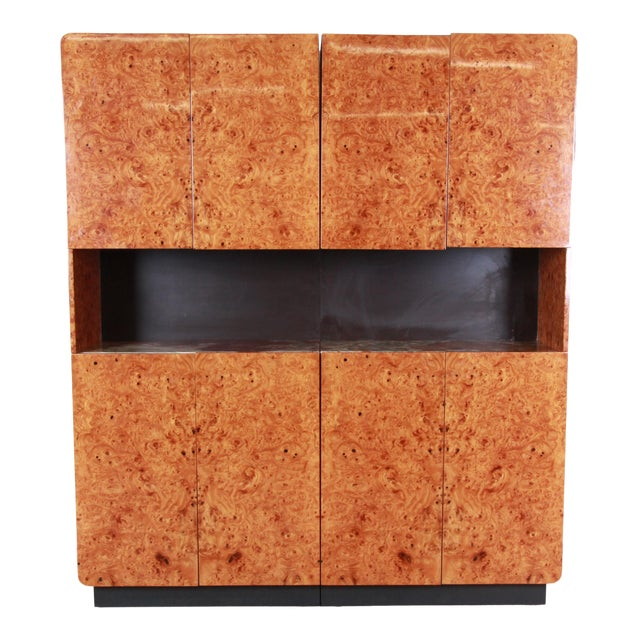 Leon Rosen for Pace Collection Burl Wood Lighted Bar Cabinet or Wall Unit For Sale