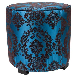 Contemporary Little Pouf in Blue and Brown Upholstered Round Stools For Sale