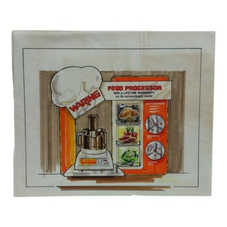 "1980s Original ""Waring Food Processor"" Nadelson Advertising Drawing For Sale"