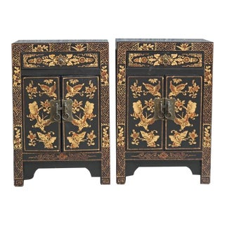 Chinoiserie-Style Lacquered Pine Night Stands - a Pair For Sale