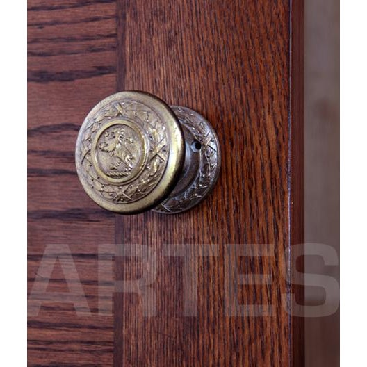 1920s Historical Antique Cast Bronze Lion Door Knobs - a Pair For Sale - Image 5 of 8
