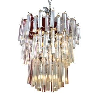 Modern Round Tiered Crystal and Chrome Chandelier For Sale