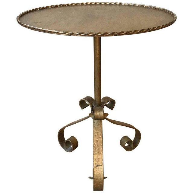 Gilt Metal End Table on a Tripod Base - Image 7 of 7