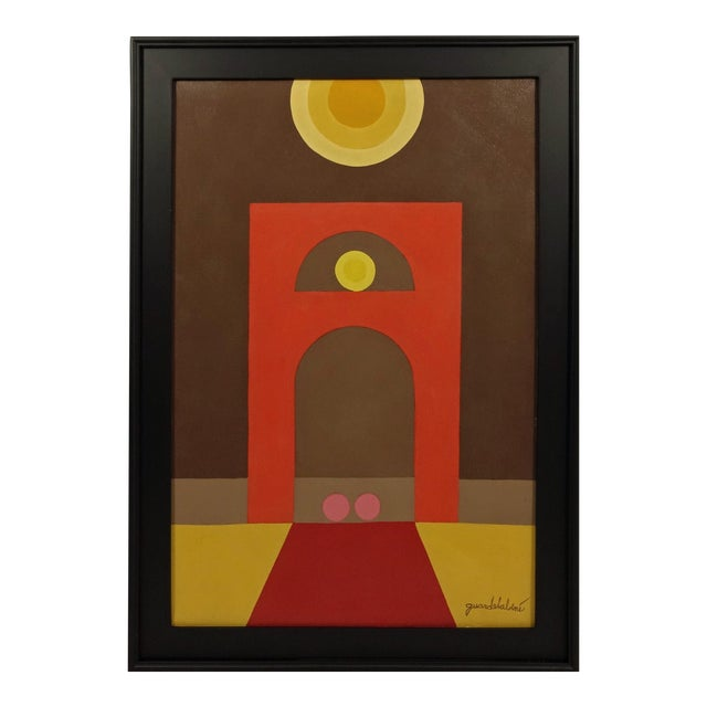 Vintage Signed Geometric Abstract Painting - Image 1 of 8