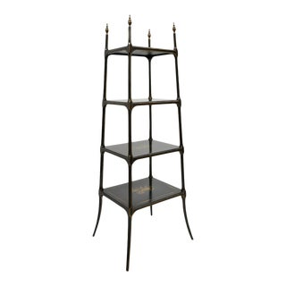 English Victorian Georgian Style Black and Gold 4 Tier Etagere For Sale