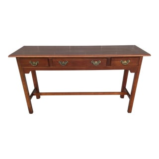 Harden Furniture Solid Cherry Chippendale Style 3 Drawer Console Table For Sale
