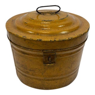 English Antique Round Copper Canister For Sale