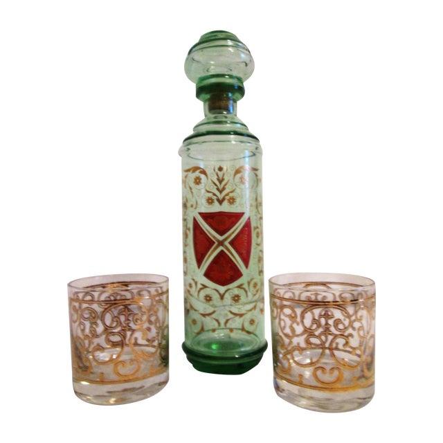 Green Glass Liquor Decanter Glasses - Set of 3 - Image 1 of 7