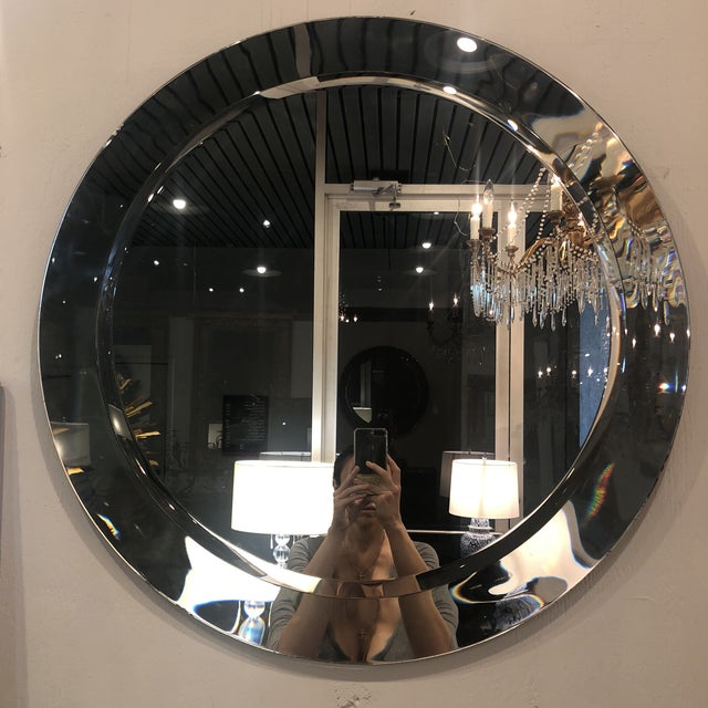Transparent Large Round Vintage Italian Mirror For Sale - Image 8 of 8