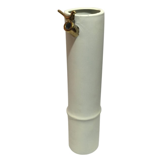 Modern Bamboo Branch Vase with Gold Bird - Image 1 of 4