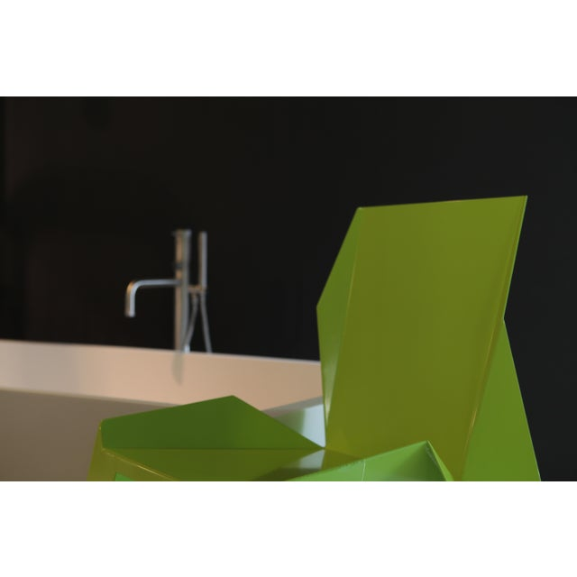 Metal Origami Inspired Edge Green Chair | Indoor & Outdoor Chair For Sale - Image 7 of 9