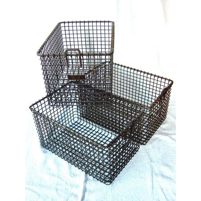 Set of three vintage gym baskets. Heavy construction, beautiful rust patina, still with original number tags. Extremely...