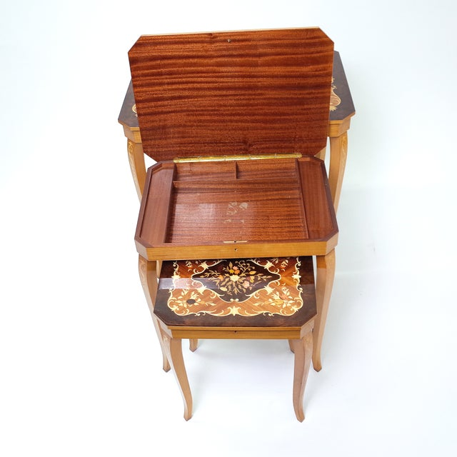 Italian Marquetry Inlay Music Box Nesting Tables For Sale - Image 6 of 8