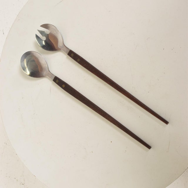 Metal Mid-Century Modern Rosewood & Stainless Salad Servers - 2 Piece Set For Sale - Image 7 of 7