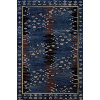 Mid 20th Century Signed Mid-Century Wool Handwoven Swedish Rug For Sale