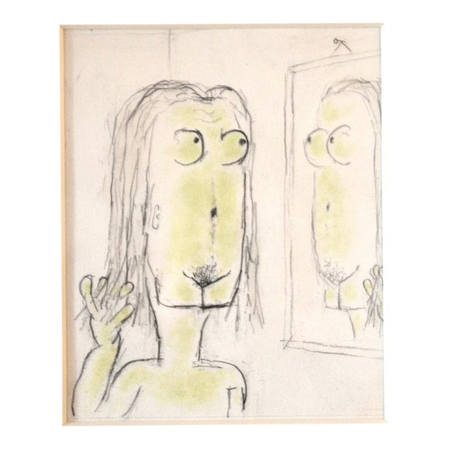 William Anthony Pencil Drawing on Paper 'Magritteing the Mirror' For Sale