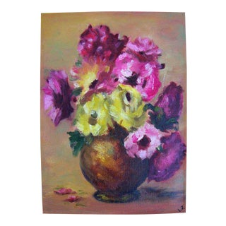 Pastel Flowers in Bowl Painting