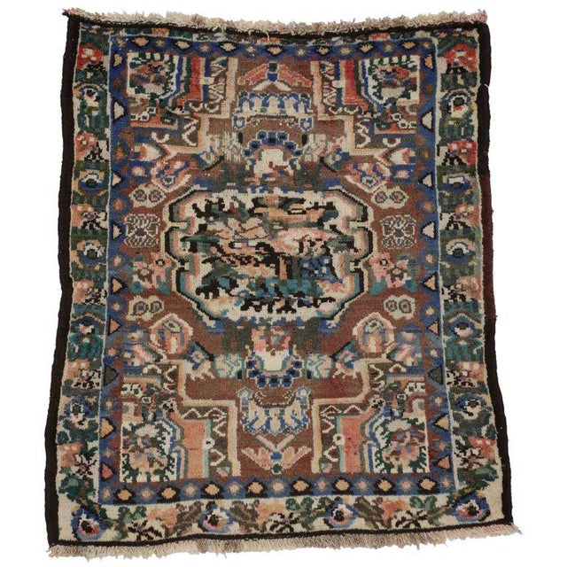Mid 20th Century 20th Century Persian Bakhtiari Accent Rug - 2′9″ × 3′2″ For Sale - Image 5 of 5