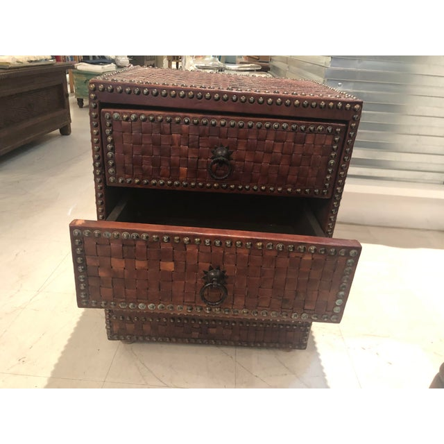 This three drawer chest, made of cedar wood and weaved leather. Handmade in Morocco. Perfect as night tables or to the...