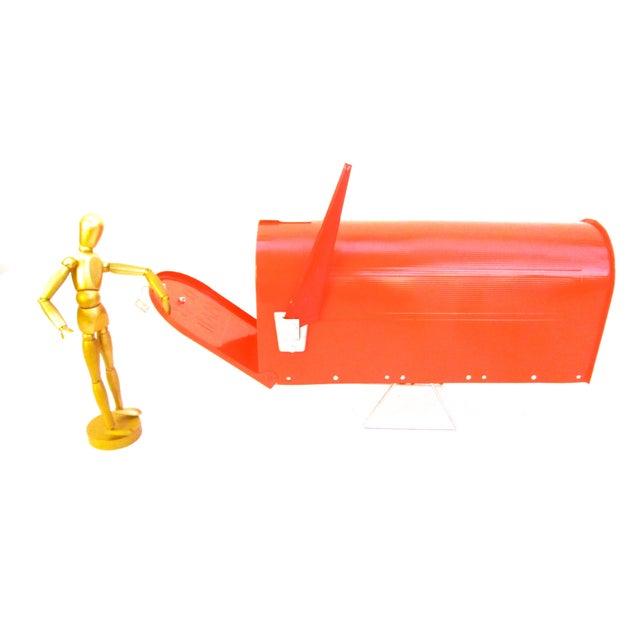 Vintage Industrial Fire Orange Metal Mailbox For Sale - Image 4 of 11