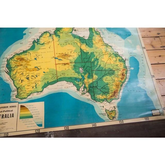 Vintage Cram's Pull Down Map of Australia For Sale - Image 5 of 5