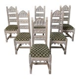 Image of Early 20th Century Antique Rustic Gothic Stripped Dining Chairs- Set of 6 For Sale