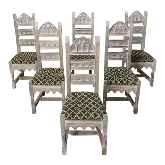 Early 20th Century Antique Rustic Gothic Stripped Dining Chairs- Set of 6 For Sale