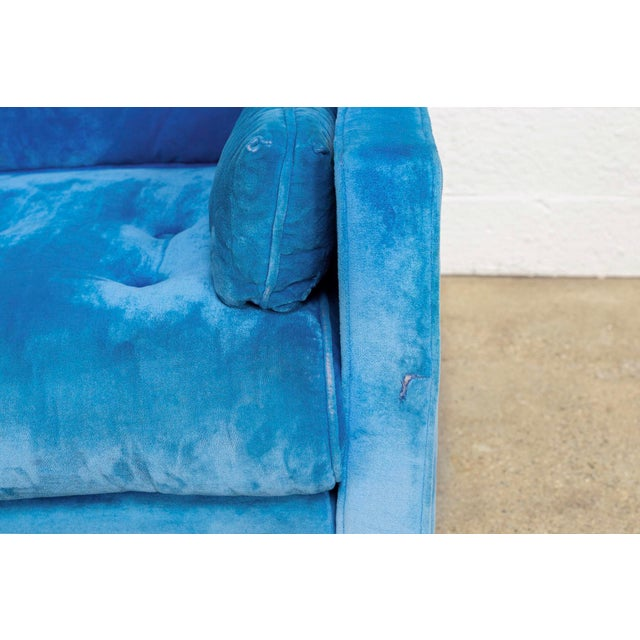 Wood Mid Century Blue Velvet Upholstered Three-Seat Sofa Couch 1970s For Sale - Image 7 of 11