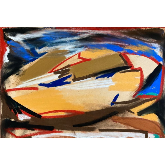 Contemporary Abstract Pastel Drawing on Paper by Erik Sulander For Sale