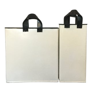 Galvanized Metal Gift Bag Sculptures, Holiday Decor - White - a Pair For Sale