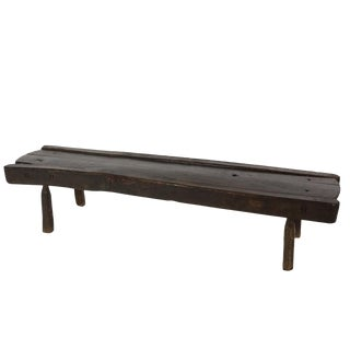 Low Rustic Oak Bench, English Circa 1860 For Sale