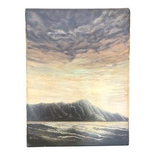 Vintage Impressionist Seascape Ocean Oil Painting Signed Mj Coe For Sale