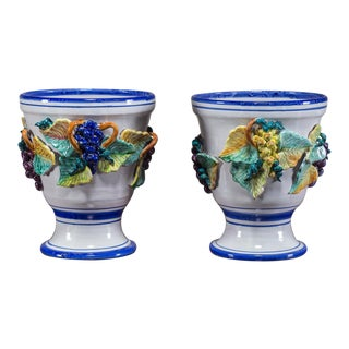 Two Vintage Italian Grape Cachepot or Jardiniere circa 1980