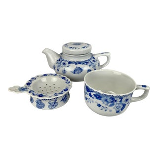 Tea for One-Teapot, Cup, Strainer & Holder - Set of 4 For Sale