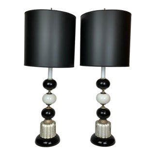 1940s Hollywood Regency Black & White Lamps - a Pair For Sale