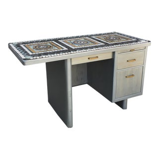 1960's Vintage 3 Drawer Mosaic Top Steel Tanker Desk For Sale