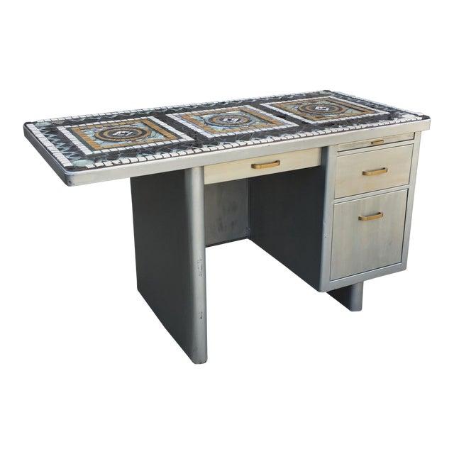 1960's Vintage 3 Drawer Mosaic Top Steel Tanker Desk For Sale