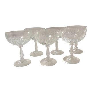 1950's Cut Glass Champagne Glasses - Set of 6