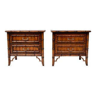 Hollywood Regency Faux Bamboo Nightstands, Set of 2 For Sale