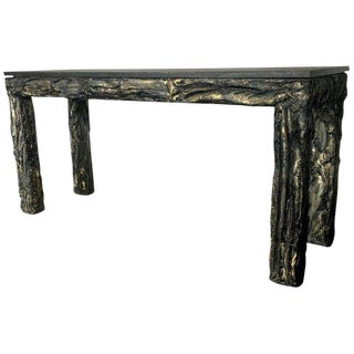 Paul Evans Style Brutalist Console Sofa Table For Sale