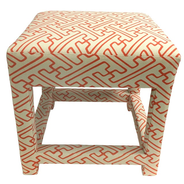 David Hicks Style Quadrille Upholstered Bench - Image 1 of 6