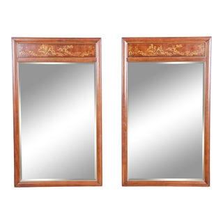 Drexel Heritage Hollywood Regency Chinoiserie Wall Mirrors - A Pair For Sale