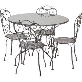 Industrial Age Wrought Raw Steel Porch Set Table & Four Chairs