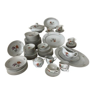 Vintage 1940's Hadson China Floral Pattern Dinnerware Service - 87 Pieces For Sale