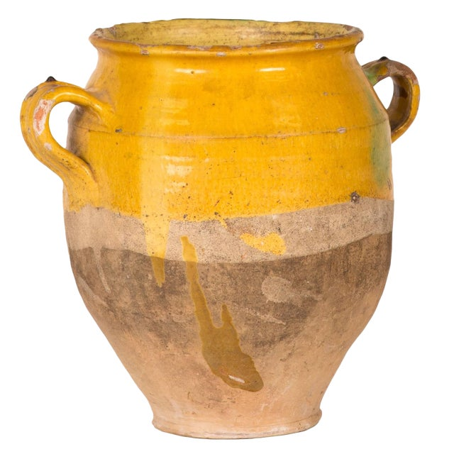 A Yellow Glazed Confit Pot With Green Markings and Handles For Sale