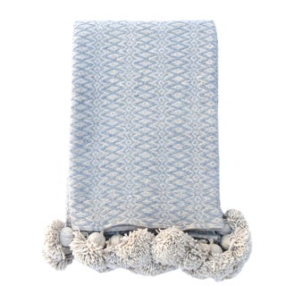 Handwoven Cotton Pom Pom King Size Blanket For Sale