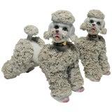Image of Pair White Ceramic Porcelain Poodle Dog Sculptures For Sale