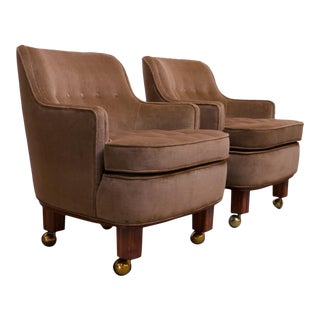 Pair of Lounge Chairs in Mahogany and Velvet by Edward Wormley for Dunbar For Sale